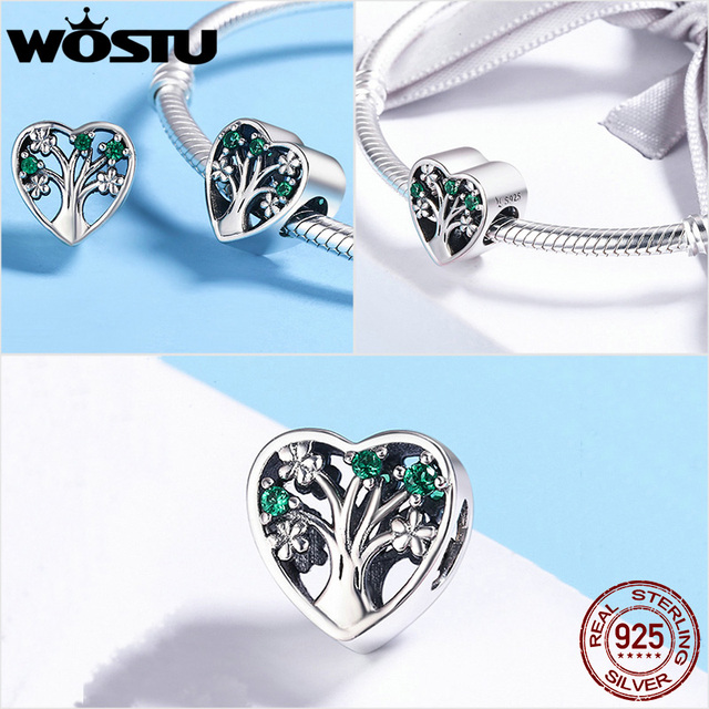 WOSTU 100% Authentic 925 Sterling Silver Heart Shape Charm Beads Fit Brand Charm Bracelet DIY Original Silver Jewelry 2