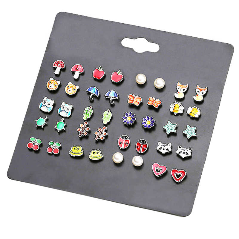 LUXSHINE 20 Pairs/lot Kids Stud Earring Set for Girls Cute Fruit Animal Ear Studs Owl Mushroom Leaf Heart Ladybug Apple Jewelry