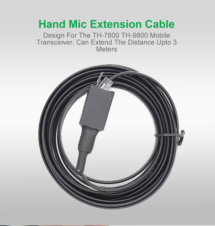 Hand Microphone Extension Cable for <font><b>TYT</b></font> <font><b>TH</b></font>-7800 <font><b>TH</b></font>-<font><b>9800</b></font> Car Mobile Radio Walkie Talkie 50km Transceiver Quad Band Dual Display image