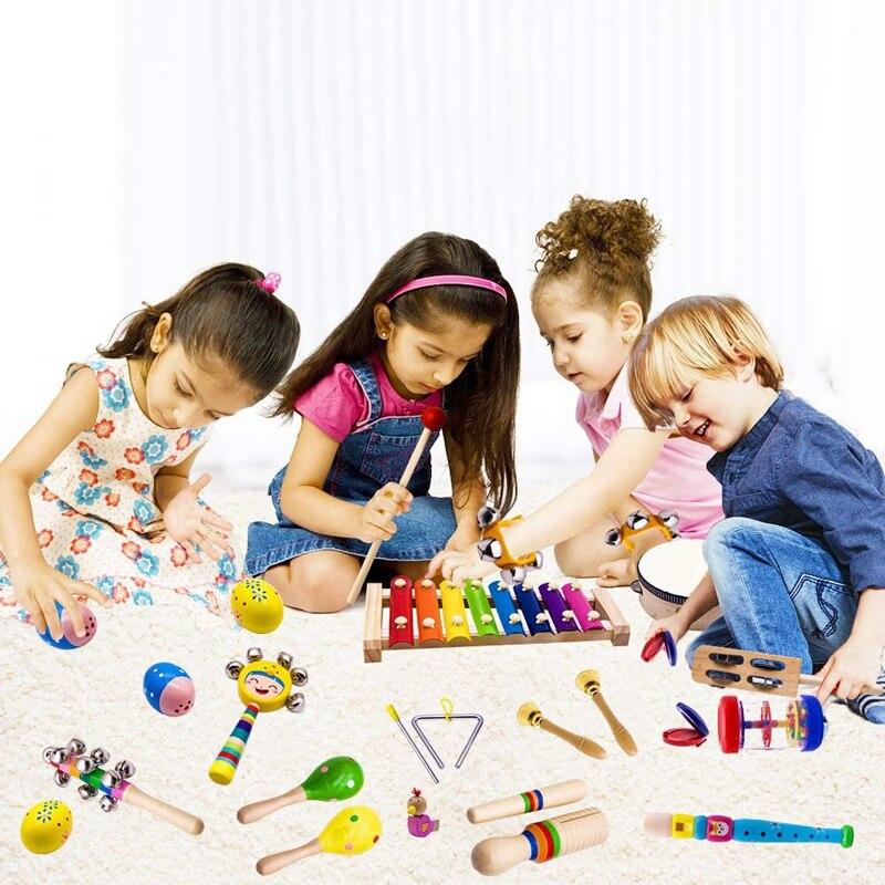 Image 2 - Детские музыкальные инструменты, 15 видов 23 шт. деревянные ударные ксилофон игрушки для мальчиков и девочек дошкольного образования с хранения обратноБубен    АлиЭкспресс