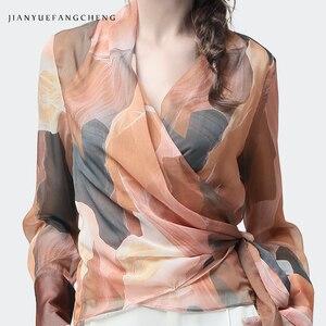 Image 4 - Chiffon Women Top Artistic Orange Print Sexy Slim Blouses Crossed V Neck Long Sleeve Fashion Ladies Summer Autumn Casual Blouse
