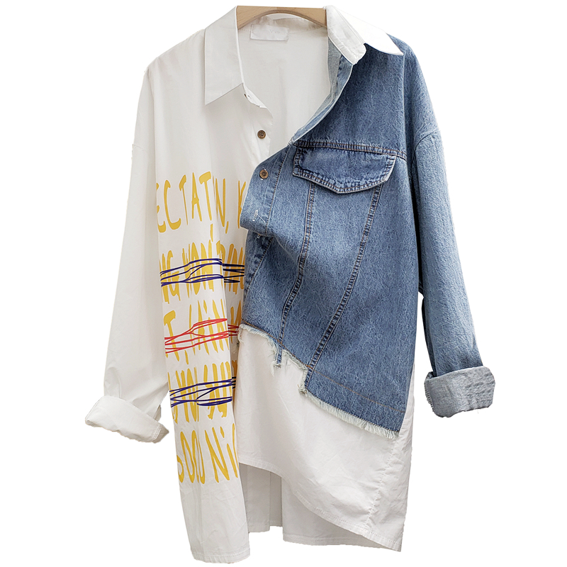 Contrast Color Women Denim Patchwork Shirt Loose Style Letter Printed Long Sleeve Single Breasted Shirt