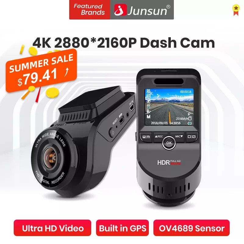 ( Código: 10VERANOALI ) Cámara DVR para coche 4K 2160P GPS incorporado WiFi ADAS Dash Cam frontal y trasero ambos 1080P Grabador de conducción Detección de movimiento Video nocturno