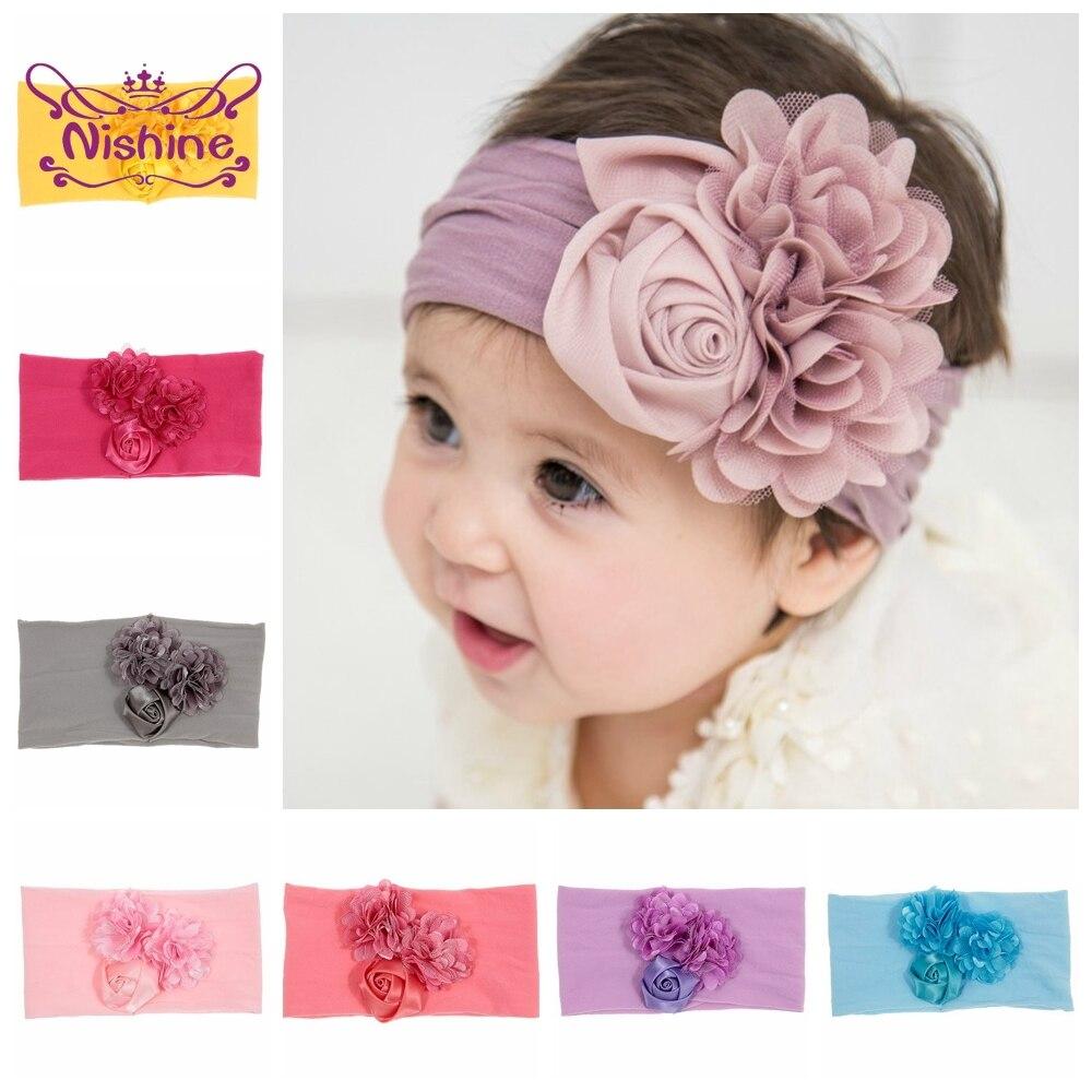 Nishine yumuşak streç saten gül çiçek bebek kafa bandı yenidoğan düğüm geniş naylon Headwraps türban kız şapkalar çocuk fotoğraf sahne