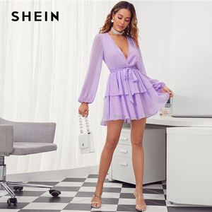Image 3 - SHEIN vestido de punto suizo para mujer, Vestido corto morado con dobladillo de doble capa y escote en V profundo, vestido Sexy con manga de obispo para otoño 2019
