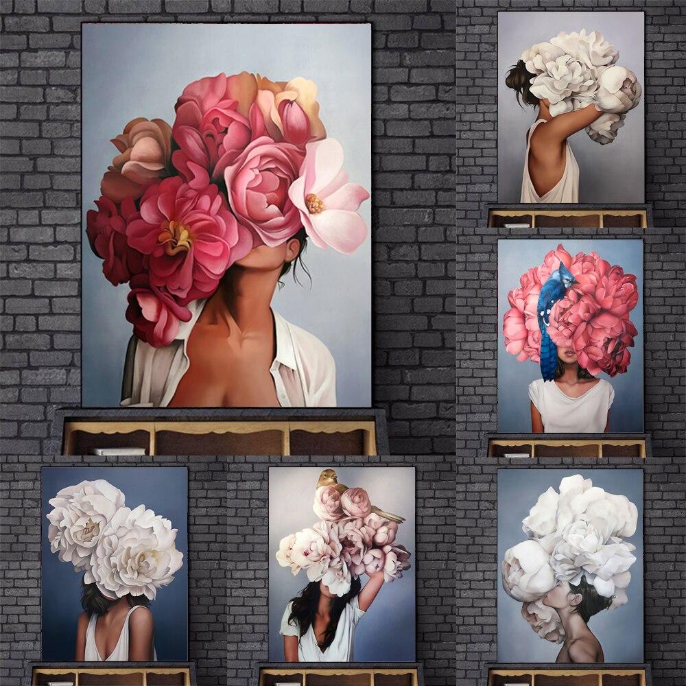 Повязка на голову с цветочным рисунком и пером; Nordic искусство абстрактные женские парусиновые настенные картины художественные плакаты и принты настенные картины для дома украшения искусства