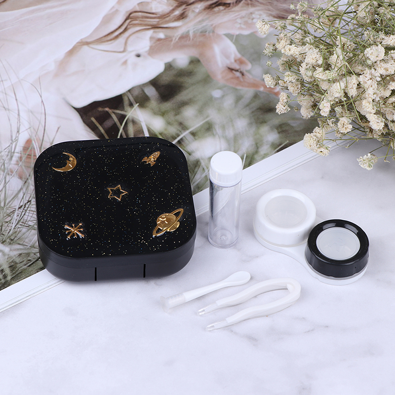 Portable Contact Lenses Box Moon Star Space Black With Mirror Contact Lens Case For Women Kit Holder Eyewear Accessaries