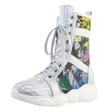 Lace-Up-Shoes Mid-Calf-Boots Multicolored PU Sponge Sequin-Cloth Stitching Fish-Scale