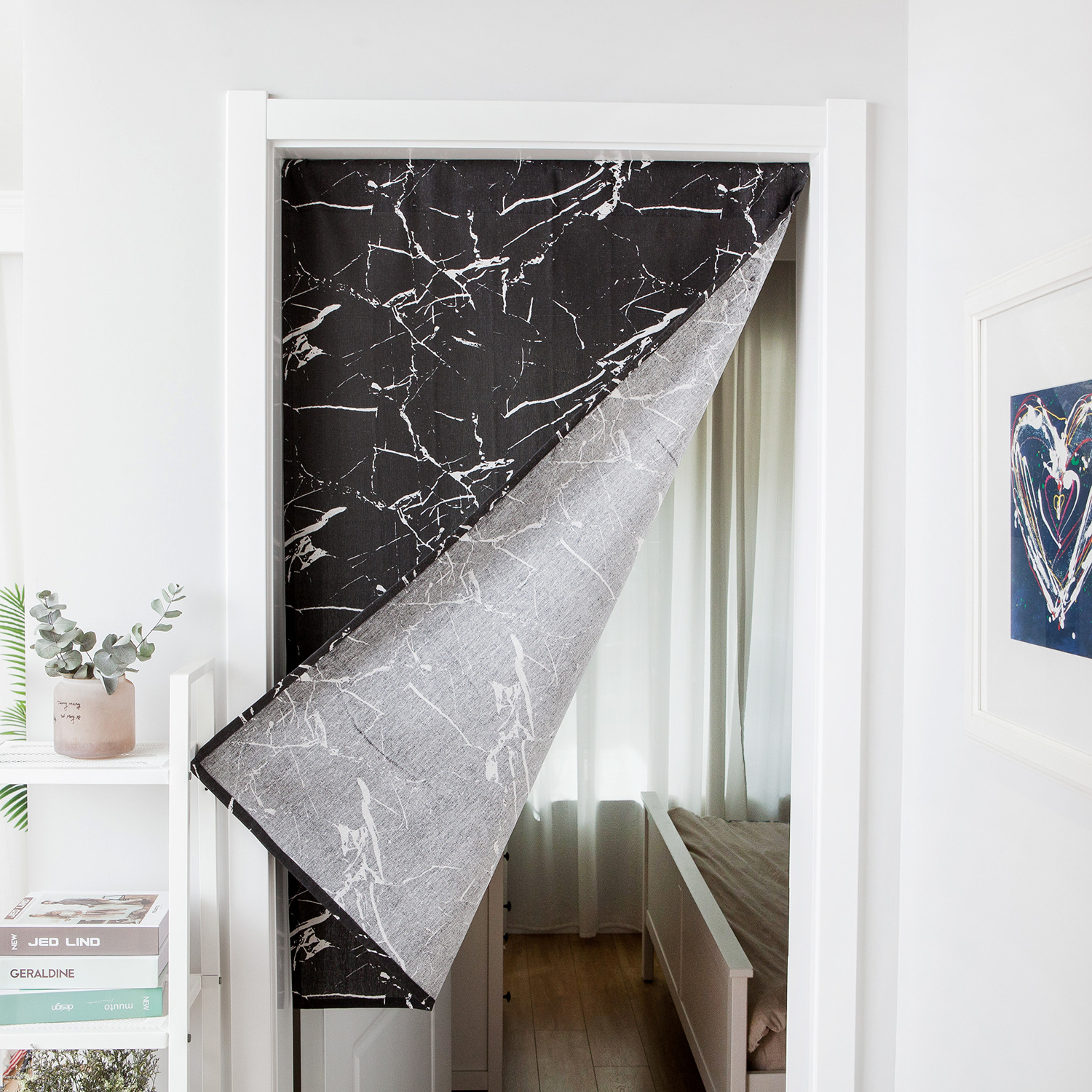 Us 10 44 38 Off Black White Linen Doorway Curtain Striped Printed Modern Valances For Room Window Kitchen Home Decoration Fabric Screen Dw134 In