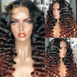 Topnormantic Highlight свободная глубокая волна парик цветные Remy индийские человеческие волосы парики Омбре кружевной передний парик с предваритель...