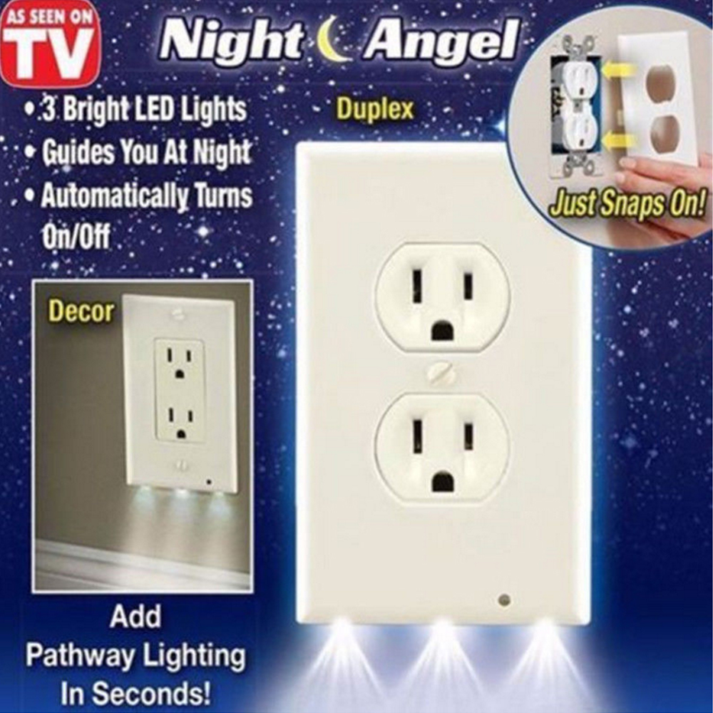 Sensor LED Night Light Socket Wall Panel LED Night Light Cover Duplex With Ambient Light Wall Socket Lights Lamp For Bedroom