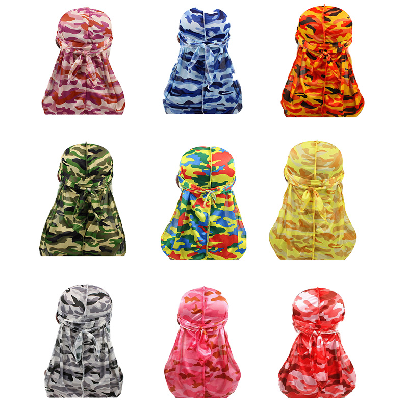 Fashion Turban Print <font><b>Men</b></font> <font><b>Silk</b></font> Durag Camo <font><b>Men's</b></font> Silky <font><b>Durags</b></font> Headwear Bandans Headband Hair Accessories Pirate Hat Waves Rags image