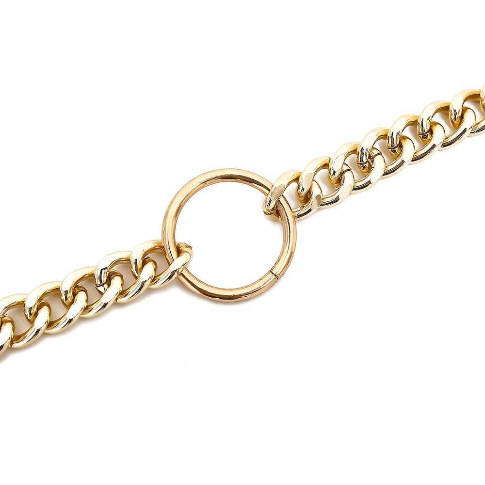 Chunky metalowy łańcuch złoty/srebrny naszyjniki i wisiorki Punk Style Choker naszyjniki dla kobiet biżuteria