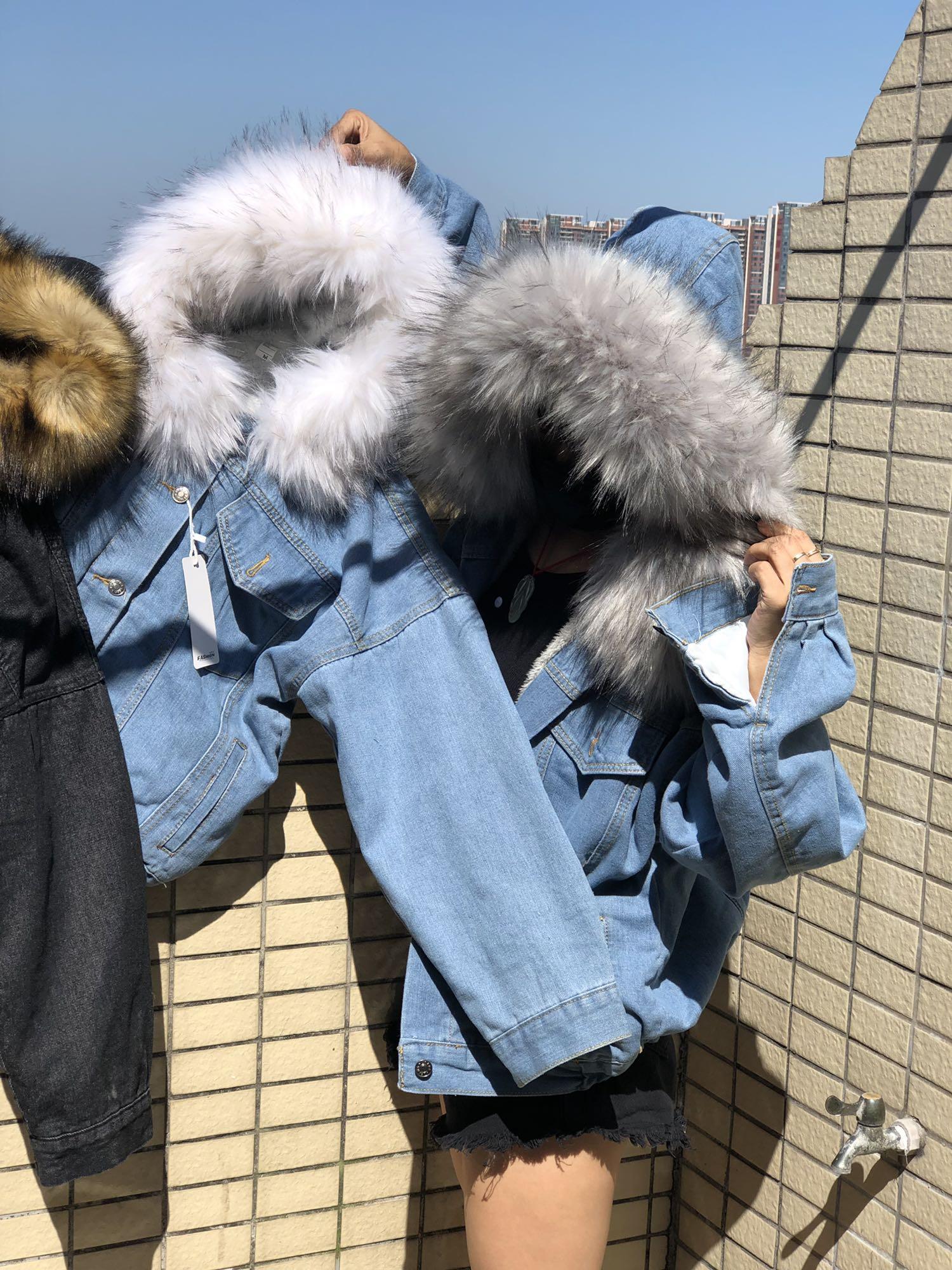 H0ec8f335febe4f438f160073642f546fm LUZUZI 2019 New Warm Winter Bomber Women Winter Autumn Hooded Girls Coat Jeans Denim Jackets Basic Ladies Top Windbreaker Female