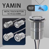 16/19/22/25mm Touch Metal LED Push Button Switch Stainless Steel 30s Time Delay NO NC Waterproof Latching Lock IP68