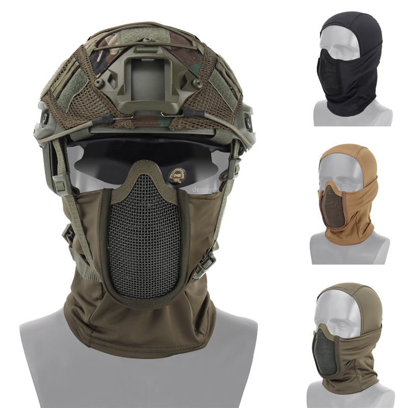 Half Face Tactical Headgear Mask Breathable Steel Mesh Military Airsoft Paintball Mask Hunting Shooting Protective Mask Headgear
