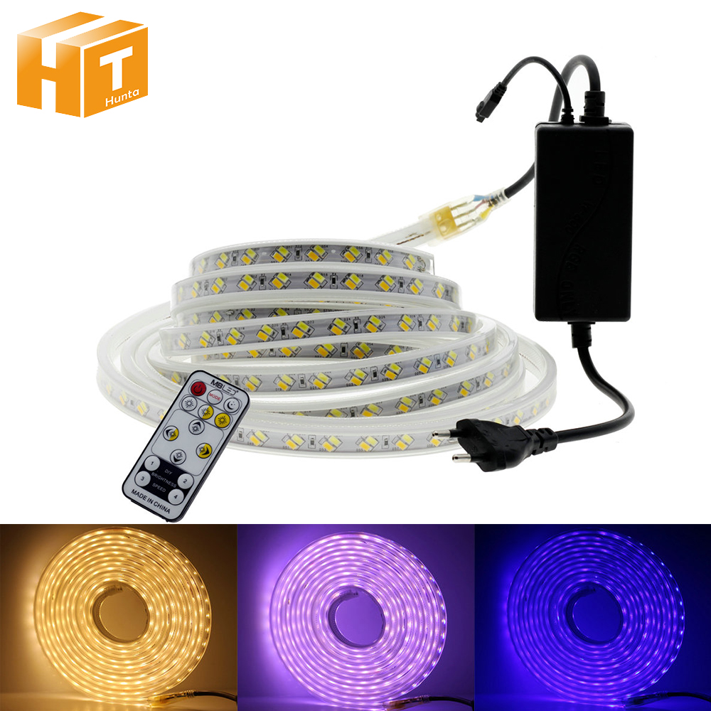 AC220V LED Strip RGB Changeable / Warm White + Blue Double Colour IP67 Waterproof Outdoor Use Flexible LED Light Strip.