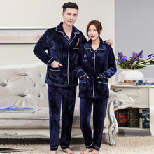 Coral Fleece Sleep Set Couple 2PCS Pajamas Set Flannel Sleepewar Winter Warm Nightwear Soft Women Home Clothes Casual Negligee(China)