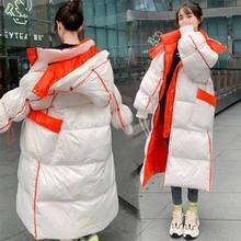 2021 das mulheres jaqueta longa para baixo chegada para baixo jaqueta feminina roupas soltas outerwear qualidade com um capuz moda estilo casaco de inverno