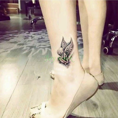 Waterproof Temporary Tattoo Sticker On Foot Ankle Wrist Angel Genius Tatto Stickers Flash Tatoo Fake Tattoos For Girl Women 4