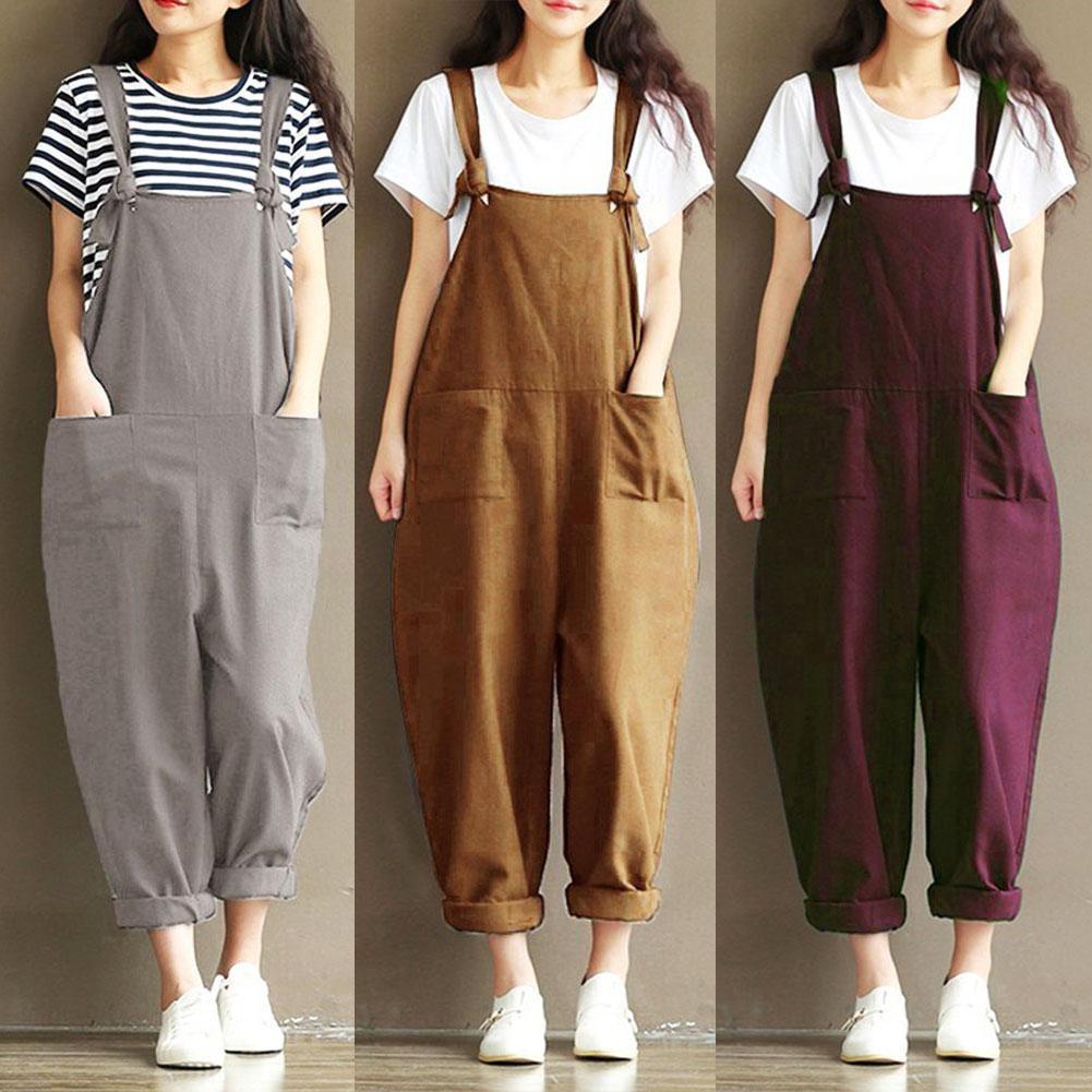 Plus Size 5xl Solid Color Women Loose Knot Tie Cotton Linen Jumpsuit Harem Overalls jumpsuits body femme clothes vintage