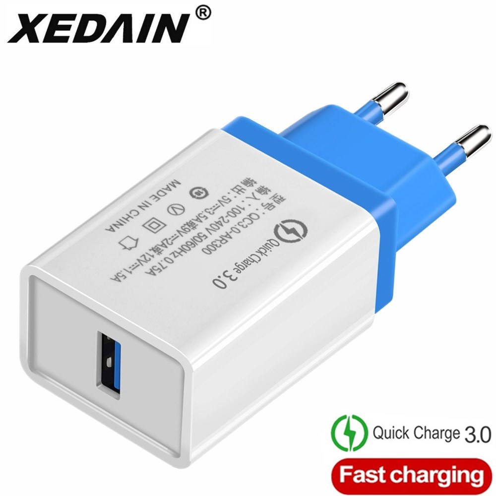 Quick Charge QC 3.0 USB Charger US/EU Plug Fast Charger Cable Wall Mobile Phone Charger For Iphone Android Samsung Huawei Xiaomi