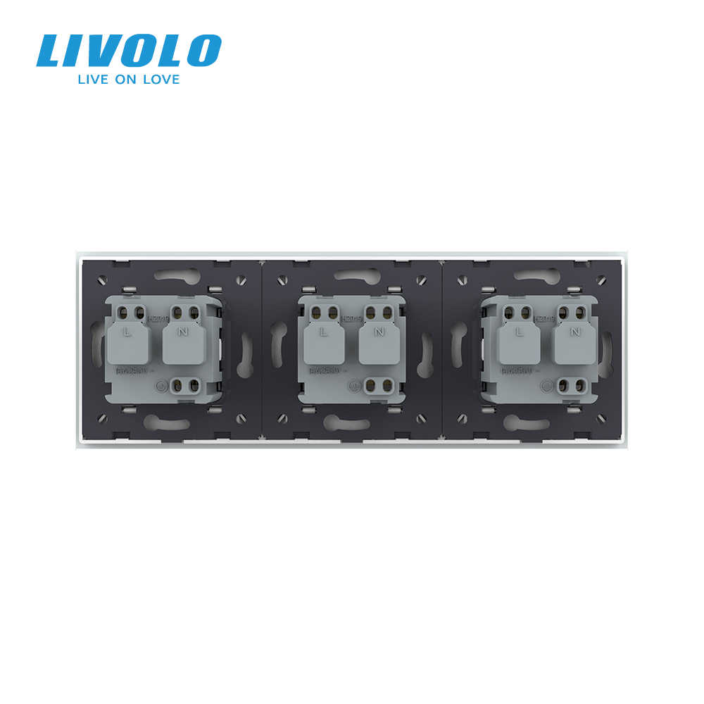 Livolo 새로운 EU 표준 전원 소켓, 콘센트 패널, 플러그가없는 트리플 벽 전원 콘센트, 강화 유리 C7C3EU-11/2/3/5