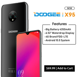Перейти на Алиэкспресс и купить doogee x95 4g-lte cellphones 6.52дюйм. display android 10 mtk6737 16gb rom dual sim 13mp triple camera 4350mah battery 2020 ltephone