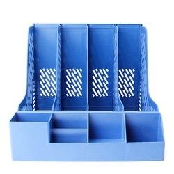 4 sekcje pulpit stojak na ulotki papierowa książka trzymać dokument biurowy organizer z tacką pudełko LX9A w Tacki na dokumenty od Artykuły biurowe i szkolne na