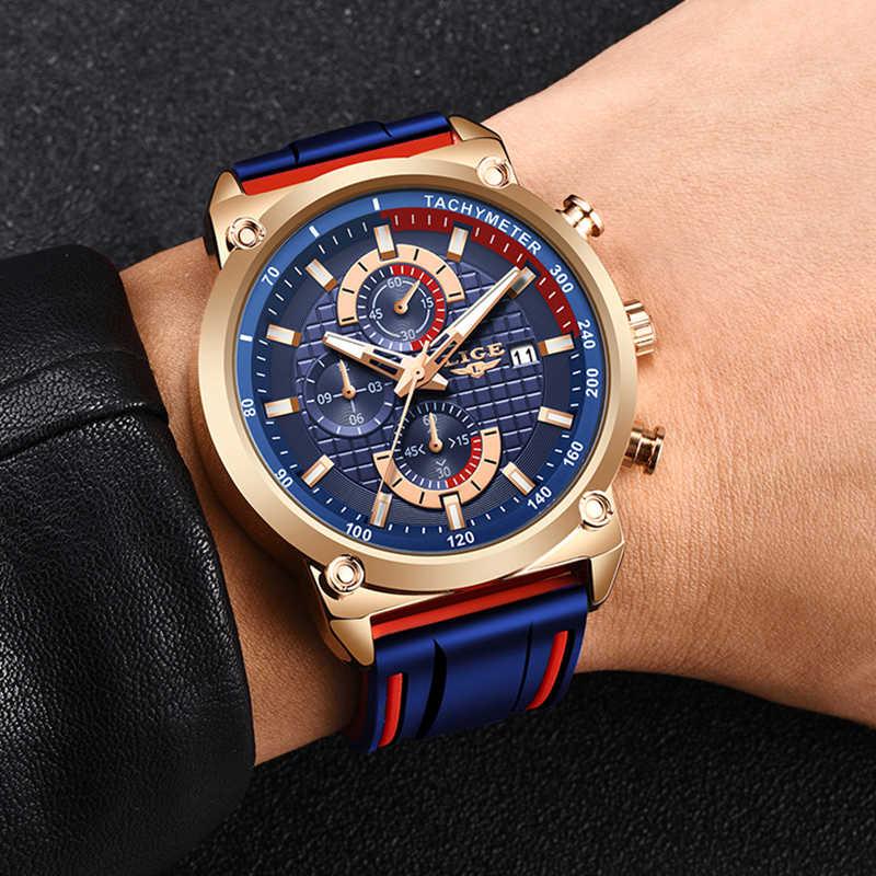 LIGE جديد التصميم الإبداعي الأزرق الساعات الرجال الفاخرة الكوارتز ساعة اليد كرونوغراف من الفولاذ المقاوم للصدأ الرياضة الرجال ساعة Relogio Masculino