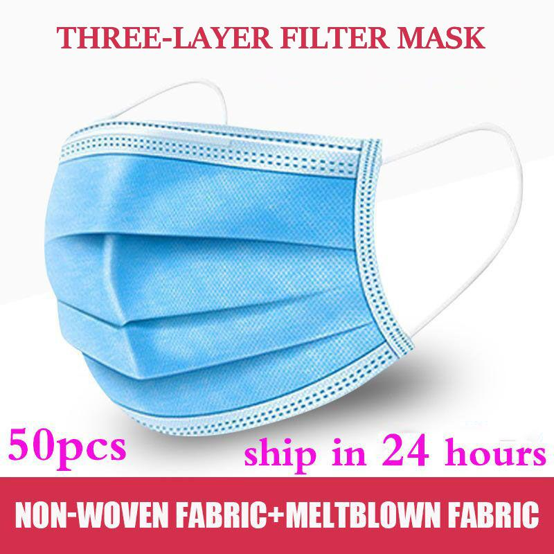 50pcs Disposable Mask 3 Layer Nonwove Ply Filter Mouth Face Mask Anti-dust Meltblown Earloop Mouth Mask
