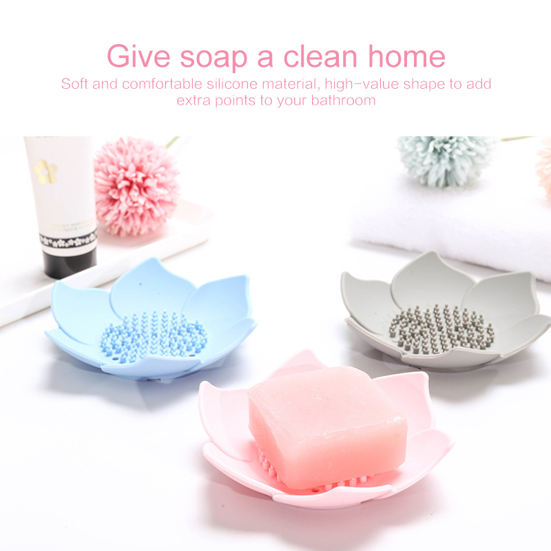 1 Pcs Creative Silicone Soap Holder Bath Shower Soap Boxes Plate Drain Storage Plate Soap Boxes Flower Tray Bathroom Accessories