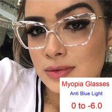 Gotowy produkt blokujące niebieskie światło komputerowe dalekowzroczne okulary na receptę kobiety kocie oko okulary dla osób z krótkowzrocznością-0.5 -1.5 -2.5 -3.5 -5.5
