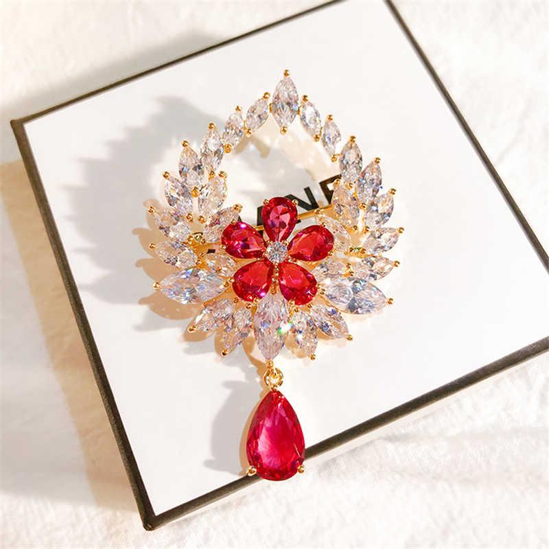 Vintage Merah Putih Zircon Crystal Teardrop Bros untuk Diy Pernikahan Bridal Karangan Bunga Perhiasan Berlian Imitasi Bros