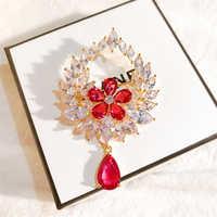 Vintage vermelho branco zircão cristal gota de lágrima broches pinos para diy casamento nupcial buquês jóias acessórios broches strass
