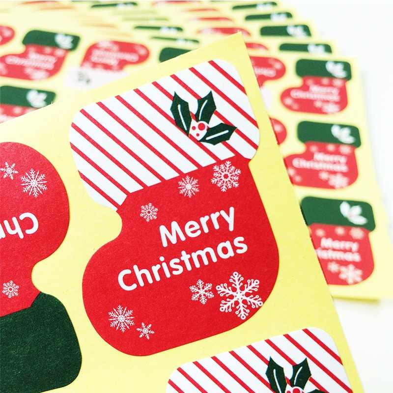 180 Pcs/lot Merry Christmas Socks Medal Stickers Scrapbooking Decoration Label Stickers DIY For Gift Cake Baking Sealing Sticker