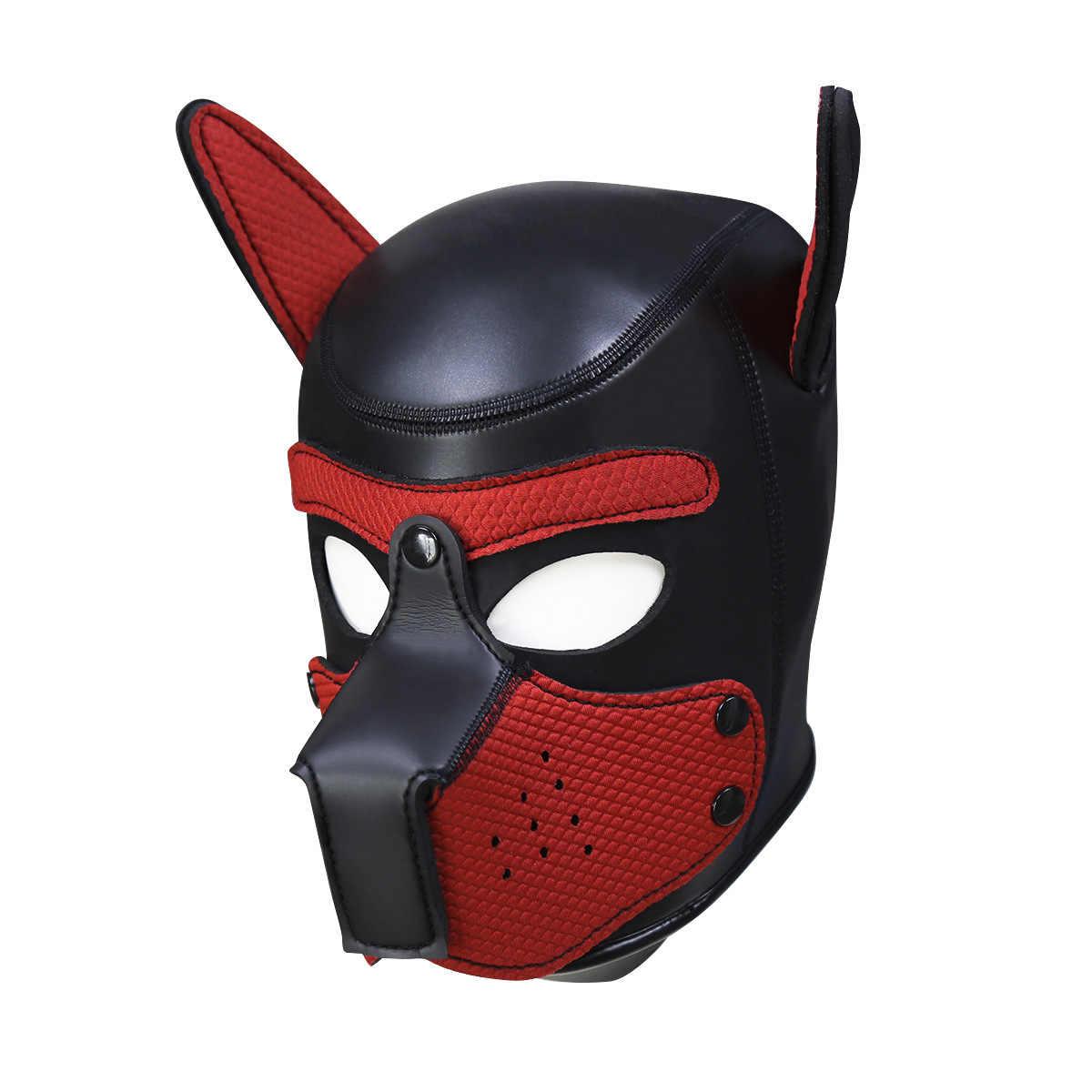 Budak Empuk Karet Lateks Anjing Kerudung untuk BDSM Diikat Anjing Cosplay Erotis Masker Kostum untuk Seks keintiman Barang untuk Pasangan Menggoda