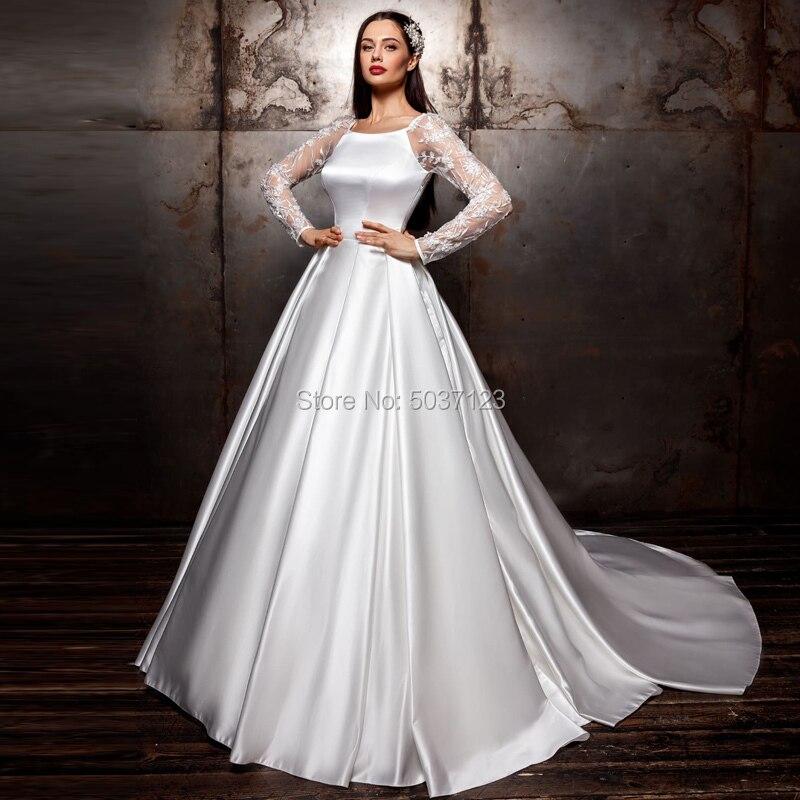Satin Long Sleeves Wedding Dresses A Line Lace Appliques Boat Neck Bridal Gowns Open Back Vestido De Noiva Sweep Train