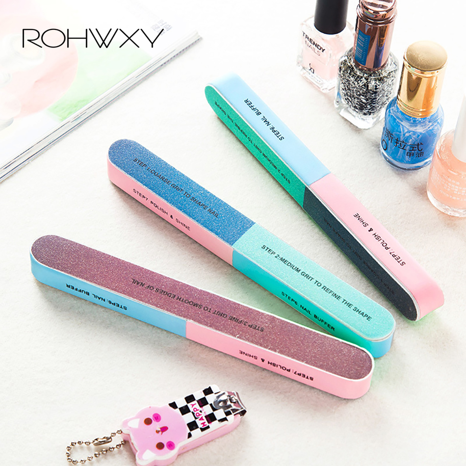 ROHWXY 3Pcs Six-sided Polishing File Nail Tool Block Sanding Pedicure Nail File Sanding Professional Nail File Cuticle Pusher