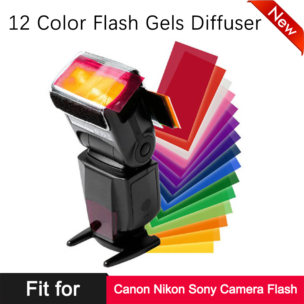 Universal Camera Flash 12 Color Gels Filter Diffuser Card Kit For Canon Nikon Sony DSLR Camera Flash Speedlite Softbox Soft Box