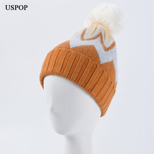 USPOP 2019 New fashion women skullies female  colorful knitted hats white pompom hat beanies
