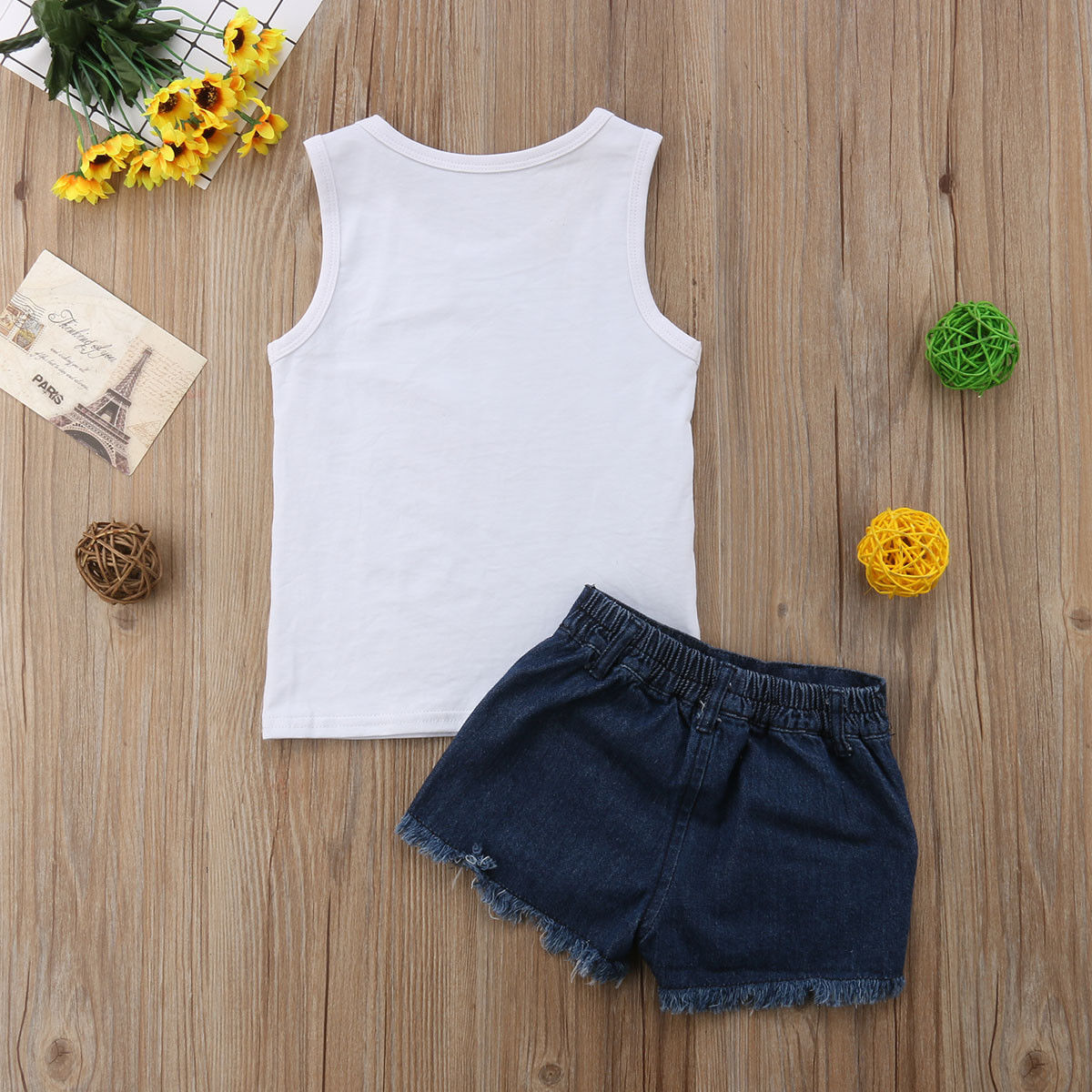 2020 Children Kids Baby Girl Clothes Set Summer Sleeveless Watermelon Vest Tops Shorts Ripped Jeans Girls Clothing Outfits 3