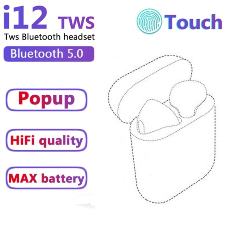 Беспроводные наушники I12 TWS Bluetooth 5,0, игровые спортивные стерео наушники, подходит для смартфонов IPhone, Xiaomi, Huawei, Huawei, Samsung