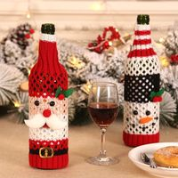 Knitted Wine Bottle Cover Christmas Santa Claus Pattern Wine Bottle Bags Festival Dinner Table Decoration