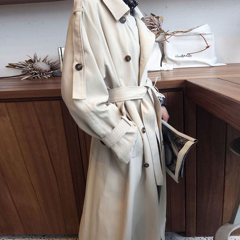2019 NEW fashion Long   Trench   Coats Women Spring Autumn Coat casual Double-breasted belt Windbreaker Overcoats N1004