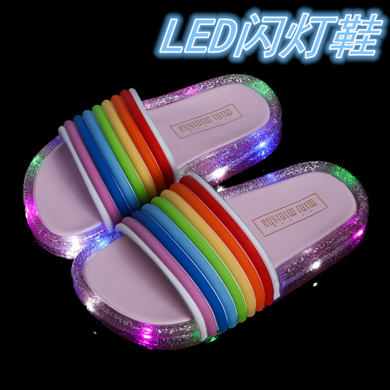 Children's Sandals For Girls Rainbow Straps Baby Slippers Kid's Summer Outdoor LED Flash Lighted Slipper Luminous  1pairs/2pcs