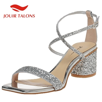 Women's Shoes On Sale 2020 New Arrivals Round Heels Med Heel Bling Fashion Party Wedding Woman Brida Sandals