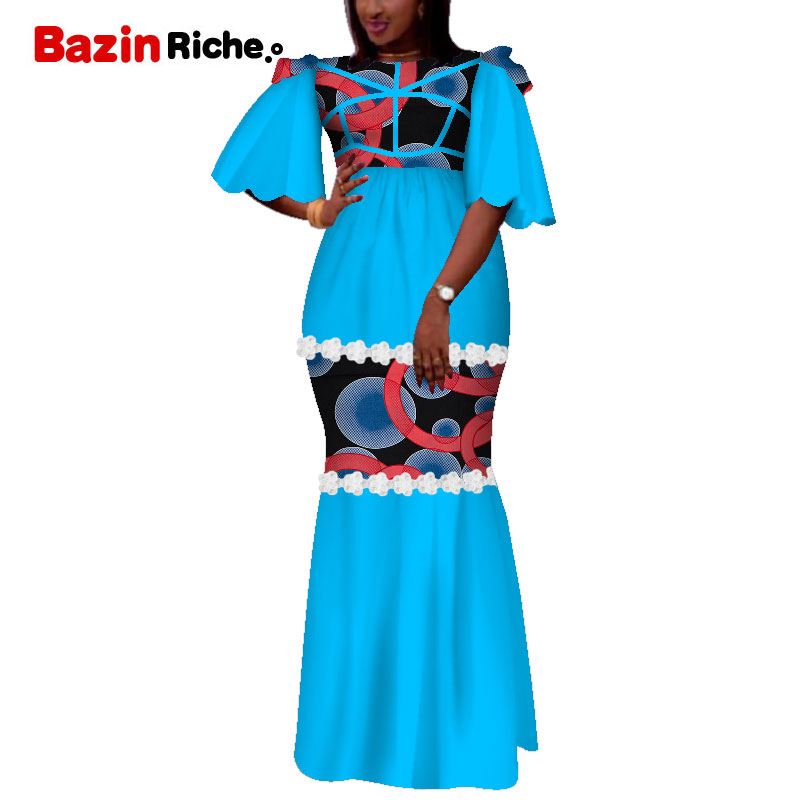 African Print Dresses For Women Bazin Riche Patchwork Draped Long Dresses Party Vestidos Traditional African Clothing WY5121
