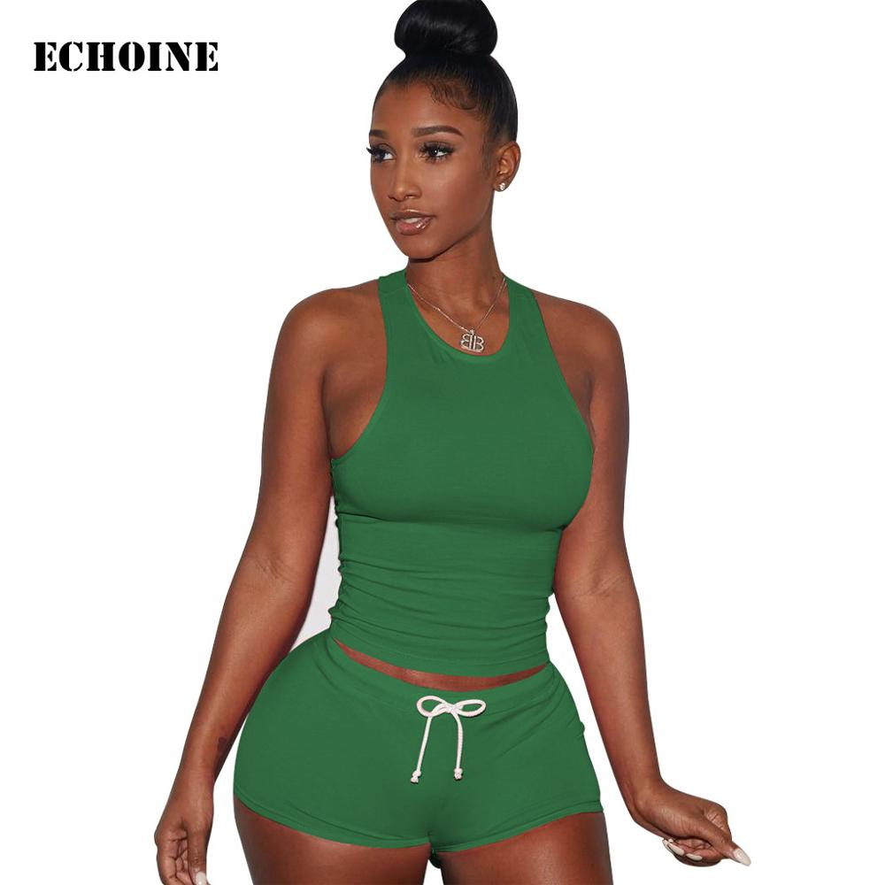 Echoine Two Piece Set Crop Tank Top Shorts Set 2019 Summer Autumn Women Slim Tracksuit Sleeveless Top Casual Outfit Lady Clothes