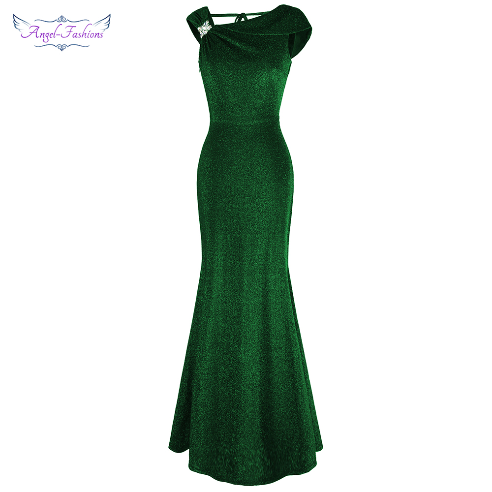 Angel-fashions Women's Evening Dress Cap Sleeves Beading Pleated V Back Shiny Long Mermaid Evening Party Gown Green 490